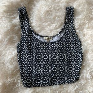 Lily white print crop top small
